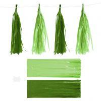 Nappe in carta , misura 12x35 cm, 14 g, verde scuro/verde lime, 12 pz/ 1 conf.