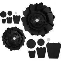 Fiori di carta, diam: 15+25 cm, 230 g, nero, 2 pz/ 1 conf.