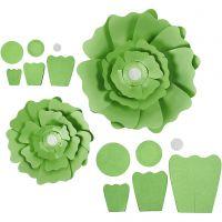 Fiori di carta, diam: 15+25 cm, 230 g, verde, 2 pz/ 1 conf.