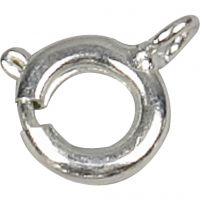 Chiusure ad anello a molla, diam: 7 mm, placcato argento, 10 pz/ 1 conf.