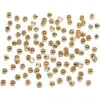 Perline a conchiglia, diam: 2 mm, placcato oro, 100 pz/ 1 conf.