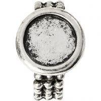 Anello cabochon, diam: 19 mm, misura buco 14 mm, argento antico, 1 pz