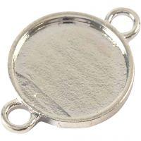 Perlina separatrice cabochon, diam: 15 mm, misura buco 2,5 mm, placcato argento, 25 pz/ 1 conf.