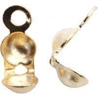 Perline ferma gioielli, L: 8 mm, diam: 3 mm, placcato oro, 100 pz/ 1 conf.