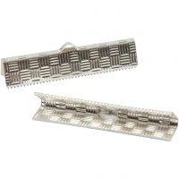 Ferma gioielli, H: 6 mm, L: 34 mm, placcato argento, 6 pz/ 1 conf.