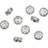 Rondelle con diamanti sintetici, diam: 8 mm, misura buco 2 mm, placcato argento, 5 pz/ 1 conf.