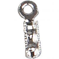 Terminali per chiusure gioielli, L: 8 mm, diam: 1 mm, placcato argento, 200 pz/ 1 conf.