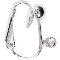 Orecchini a clip, L: 16,5 mm, L: 1,5 mm, misura buco 1,6 mm, placcato argento, 6 pz/ 1 conf.