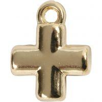 Croce, misura 10x10 mm, misura buco 1,5 mm, placcato oro, 4 pz/ 1 conf.