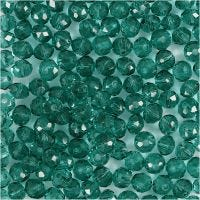 Perline sfaccettate, diam: 4 mm, misura buco 1 mm, verde, 45 pz/ 1 filo