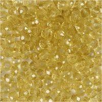 Perline sfaccettate, diam: 4 mm, misura buco 1 mm, giallo, 45 pz/ 1 filo