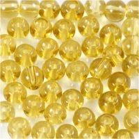 Perle in vetro, diam: 4 mm, misura buco 1 mm, giallo, 45 pz/ 1 filo
