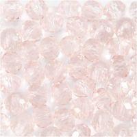 Perle in vetro, diam: 4 mm, misura buco 1 mm, rosato chiaro, 45 pz/ 1 filo