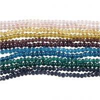 Perle di vetro e sfaccettate, diam: 4 mm, misura buco 1 mm, 12x45 pz/ 1 conf.