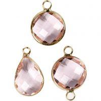 Ciondolo da gioielleria, H: 15-20 mm, misura buco 2 mm, rosato chiaro, 1 conf.
