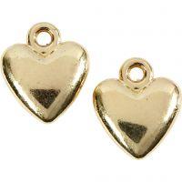 Pendente a forma di cuore, misura 13x15 mm, placcato oro, 10 pz/ 1 conf.