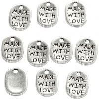 Ciondolo per gioielli, L: 12 mm, L: 8 mm, misura buco 1 mm, placcato argento, 10 pz/ 1 conf.