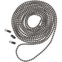 Catena a pallini, diam: 1,5 mm, grigio scuro metallico, 1 m