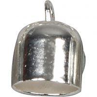 Chiusure bracciale, L: 11 mm, diam: 8 mm, placcato argento, 6 pz/ 1 conf.