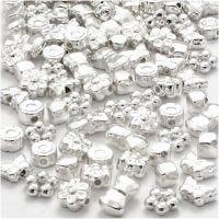 Perline in plastica di forme originali, misura 4-10 mm, misura buco 1-1,5 mm, placcato argento, 200 pz/ 1 conf.