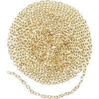 Catena per gioielli, L: 2 mm, placcato oro, 2 m/ 1 conf.