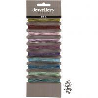 Catenine per gioielli colorate, diam: 1,5 mm, colori asst., 10x80 cm/ 1 conf.