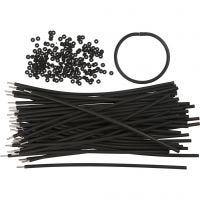 Braccialetti, L: 20 cm, spess. 4 mm, nero, 48 set/ 1 conf.