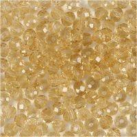 Perline sfaccettate, misura 3x4 mm, misura buco 0,8 mm, topazio, 100 pz/ 1 conf.