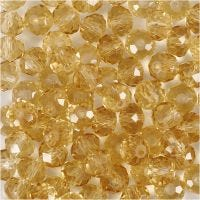 Perline sfaccettate, misura 5x6 mm, misura buco 1 mm, topazio, 100 pz/ 1 conf.
