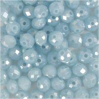 Perline sfaccettate, misura 5x6 mm, misura buco 1 mm, blu mare, 100 pz/ 1 conf.