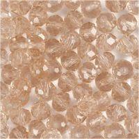 Perline sfaccettate, misura 5x6 mm, misura buco 1 mm, rosato, 100 pz/ 1 conf.