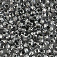 Perline sfaccettate, misura 3x4 mm, misura buco 0,8 mm, grigio metallico, 100 pz/ 1 conf.