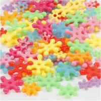 Perline in plastica forme originali, diam: 7-13,5 mm, misura buco 2 mm, colori asst., 125 ml/ 1 conf., 50 g