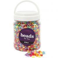 Perle sagomate, diam: 9,5 mm, misura buco 1,5 mm, colori asst., 700 ml/ 1 vasch., 380 g