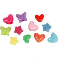 Perline in plastica forme originali, diam: 10 mm, misura buco 3,5 mm, 125 ml/ 1 conf., 65 g