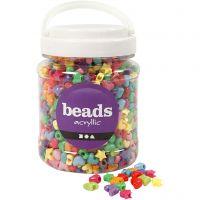 Perline in plastica forme originali, diam: 10 mm, misura buco 3,5 mm, colori asst., 700 ml/ 1 vasch., 400 g