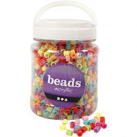 Mix perline barile, diam: 7 mm, misura buco 3,5 mm, colori asst., 700 ml/ 1 vasch., 265 g