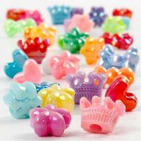 Perline in plastica forme originali, diam: 10 mm, misura buco 3 mm, 125 ml/ 1 conf., 65 g