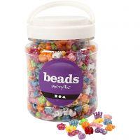 Perline in plastica forme originali, diam: 10 mm, misura buco 3 mm, colori asst., 700 ml/ 1 vasch., 380 g