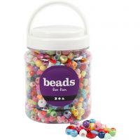 Perline in plastica, misura 6-20 mm, misura buco 1,5-6 mm, 700 ml/ 1 vasch., 390 g