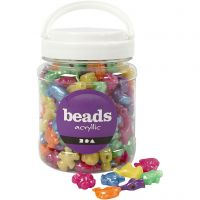 Perline in plastica forme originali, misura 25 mm, misura buco 4 mm, colori perlati, 700 ml/ 1 vasch.