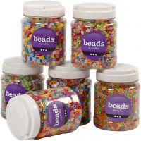 Mix perline, misura 7-10 mm, misura buco 2-4 mm, colori asst., 6x700 ml/ 1 conf.