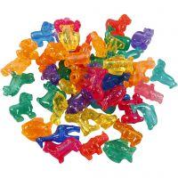 Perline in plastica forme originali, misura 25 mm, misura buco 4 mm, 1000 g, colori asst., 2000 ml/ 1 vasch.