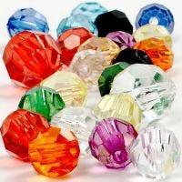 Mix perline sfaccettate, misura 10-12-16 mm, misura buco 1-2,5 mm, 125 ml/ 1 conf., 75 g