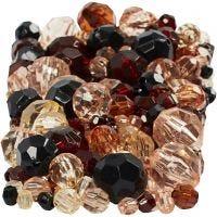 Mix perline sfaccettate, misura 4-12 mm, misura buco 1-2,5 mm, dorato, 250 g/ 1 conf.