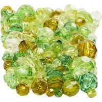 Mix perline sfaccettate, misura 4-12 mm, misura buco 1-2,5 mm, verde glitter, 250 g/ 1 conf.