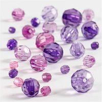 Mix perline sfaccettate, misura 4-12 mm, misura buco 1-2,5 mm, viola, 45 g/ 1 conf.