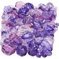 Mix perline sfaccettate, misura 4-12 mm, misura buco 1-2,5 mm, viola, 250 g/ 1 conf.
