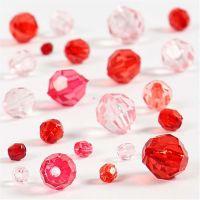 Mix perline sfaccettate, misura 4-12 mm, misura buco 1-2,5 mm, armonia rosso, 45 g/ 1 conf.