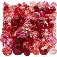 Mix perline sfaccettate, misura 4-12 mm, misura buco 1-2,5 mm, armonia rosso, 250 g/ 1 conf.